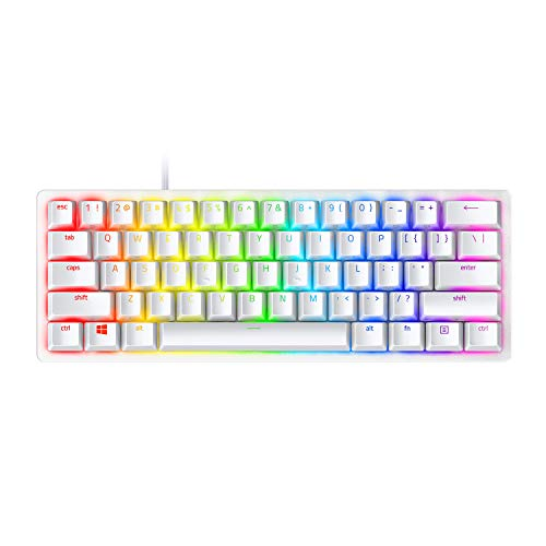 Razer Huntsman Mini 60% Gaming Keyboard: Fastest Keyboard Switches Ever - Linear Optical Switches - Chroma RGB Lighting - PBT Keycaps - Onboard Memory - Mercury White