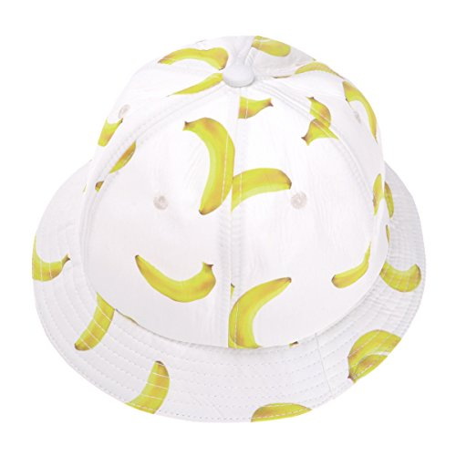 ZLYC Unisex Cute Banana Print Bucket Hat Summer Fisherman Cap, White