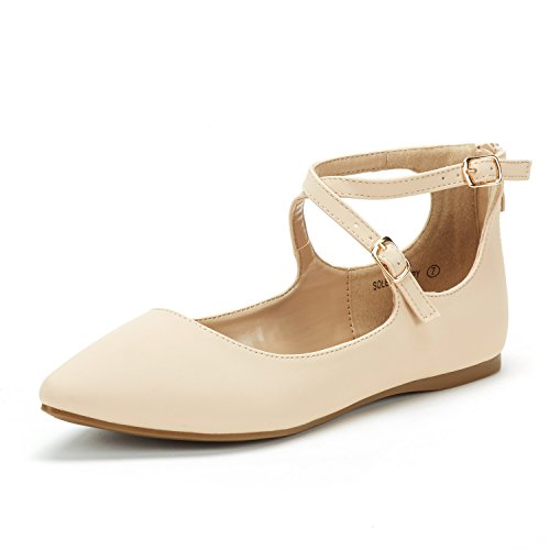(DREAM PAIRS Women's Sole-Strappy Nude Nubuck Ankle Straps Flats Shoes - 9 M US)