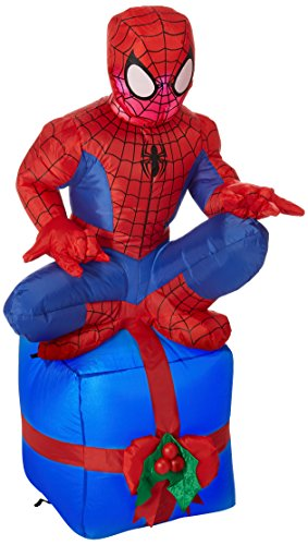 Gemmy Inflatable Outdoor Spider Man Sitting on Chimney, 42-Inch