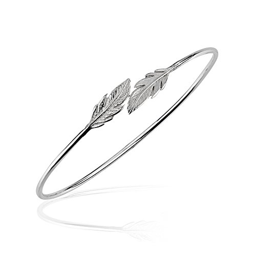 Cuff Bracelet Leaf (925 Sterling Silver Dainty Thin Line Double Leaf Leaves Wrap Flexible Cuff Bracelet, 50 x 55mm)
