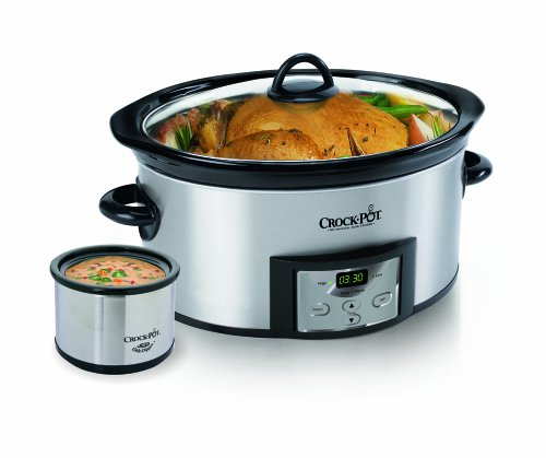 : Crock-Pot 6-Quart Countdown Programmable Oval Slow Cooker with Dipper, Stainless Steel, SCCPVC605-S
