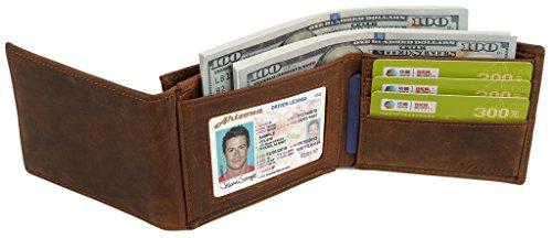 Horse Short (YALUXE Men's Crazy Horse Leather Short Bifold Wallet 7 Card)