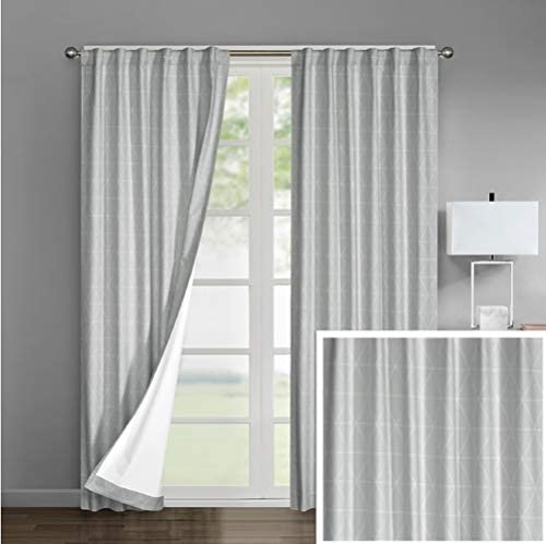 Sunclipse DK688160 Ariana 2-Pack Room Darkening-Rod Pocket Window Panel Pair, Light Grey, 42×84