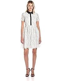 Women's Floral Outline Lace Shirt Dress