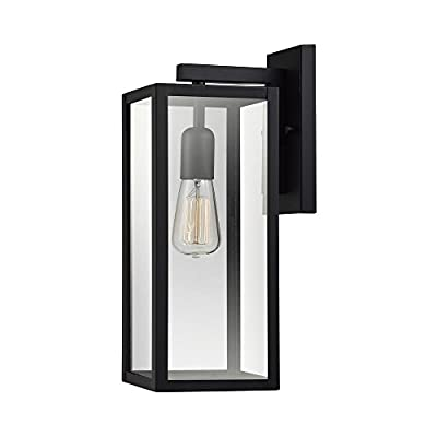 """Globe Electric 44176 Hurley 16"""" 1-Light Outdoor Wall Sconce Finish, Clear Glass Shade, Matte Black"""