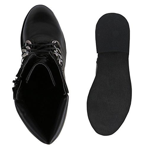 Stiefelparadies Damen Stiefeletten Leicht Gefütterte Outdoor Worker Boots Flandell Schwarz Metallic