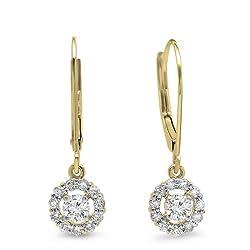 Gold Diamond Cluster Halo Style Drop Earrings