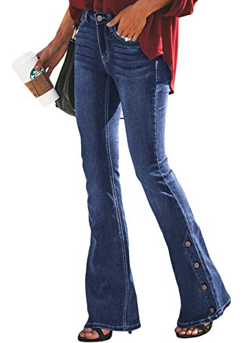 - Dokotoo Womens Fashion Spring Summer Basic Solid Casual Classic Mid Waist 5 Pockets Stretched Solid Button Fitted Flare Bell Bottom Wide Leg Wash Denim Jeans Pants Large