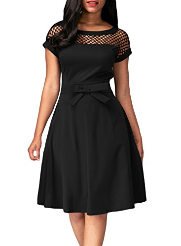 Dokotoo Womens Fishnet Insert Black Bowknot Embellished Skater Dress