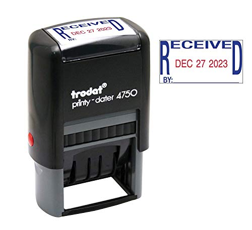 Received Trodat 4750 Economy Stamp, Dater, Self-Inking, 1-5/8 x 1 Blue/Red