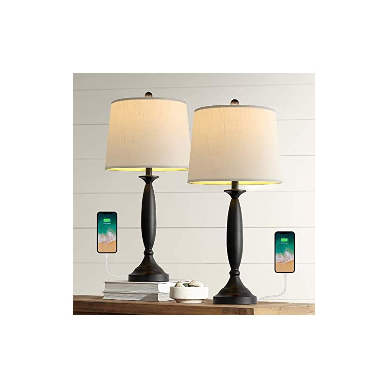 """Oneach Modern Table Lamp USB Table Lamps Set of 2 for Living Room 26.75"""" with USB Charging Port Bedside Lamp Fabric Drum…"""