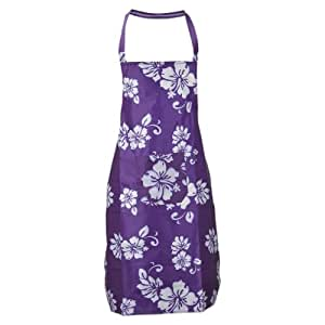 Aspire Apron For Womens Flower Printed Plastic Kitchen Aprons With Pocket - Purple
