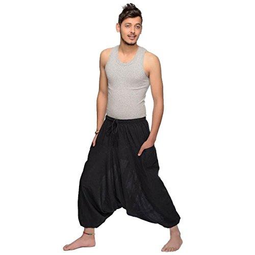 100 Unica Singharaja Per Gli Uomini Taglia Donne Simandra Harem Nero Cotone E Pantaloni Aladin tPvvwB