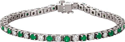 Platinum Emerald and Diamond Bracelet, 7.25