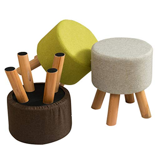 HONGLIAN Solid Wood Small Round Stool Creative Shoes Bench Fabric Sofa Stool Low Stool Four Foot Stool Removable Washable Wooden Bench (Color : Gray)