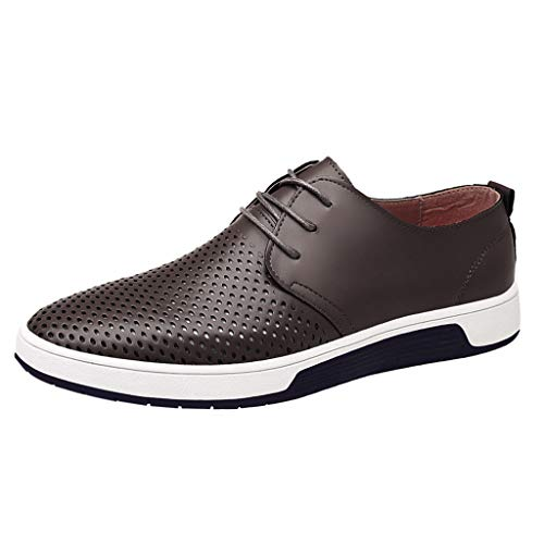TIFENNY Men's Fashion Hollow Breathable Casual Leather Shoes Round Toe Lace-Up Male Shoe Flat Lazy Shoes Sneakers Grey