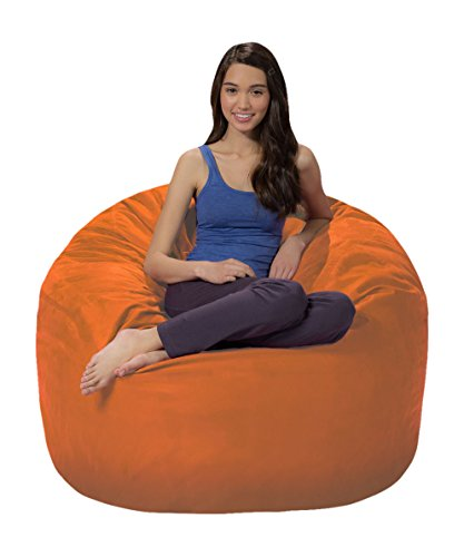 Comfy Sacks 4 ft Memory Foam Bean Bag Chair, Tangerine Microsuede