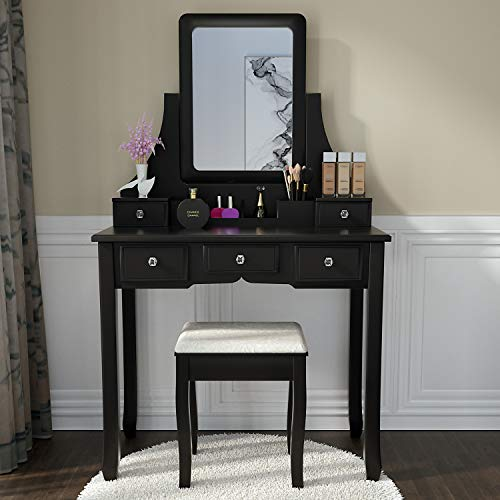 Amooly Vanity Set with Mirror,5 Large Sliding Drawers, Removable Makeup Organizer,Cushioned Stool Dressing Table Vanity Makeup Table Black