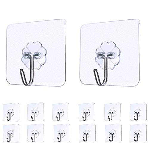 Iulove_kitchen&dining&bar Strong Transparent Suction Cup Sucker Wall Hooks Hanger for Kitchen Bathroom 14pc ()