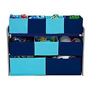 Delta Children Deluxe Multi-Bin Toy Organizer with Storage Bins, Grey/Blue