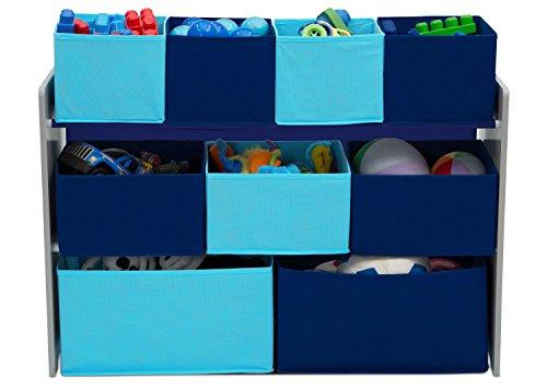 41m8FJd2qHL - Delta Children Deluxe Multi-Bin Toy Organizer with Storage Bins, Grey/Blue
