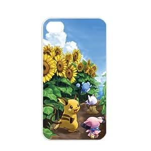 Pokemon Popular Cute Pikachu Raichu Apple iPhone 4 4S TPU Soft Black or White Cases (White)