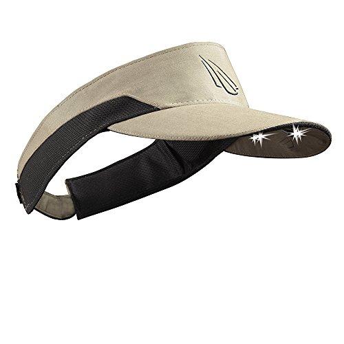 Panther Vision POWERCAP LED Visor 25/10 Ultra-Bright Hands Free Lighted Battery Powered Headlamp - Khaki Microfiber (V4-2719)