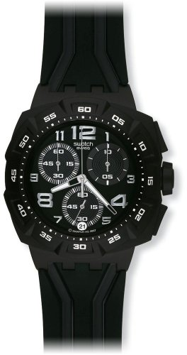 Swatch Men's SUIB400 Quartz Chronograph Black Dial Plastic Watch
