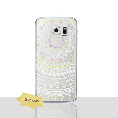 Mandala Funda/Cubierta del Teléfono para Samsung Galaxy S6 (G920) con Protector de Pantalla / Silicona Suave de Gel/TPU / iCHOOSE / Sol - Verde Sol - Amarillo