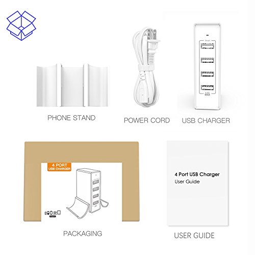 Atizzy Multi Port Usb Charger with Phone Stand, 24W 4.8A 4-Port Usb Hub Rapid Desktop Charging Station Usb Adapter for Apple iOS,Samsung Android & All Other USB Enabled Devices-White by Atizzy (Image #6)