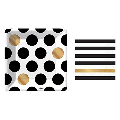 Gold Plate Stripe White - Kenzie Black and Gold Small Plates and Napkins By Design Design