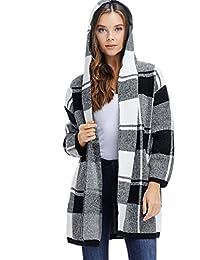 A + D Womens grande parte delantera abierta a cuadros con capucha chamarra de invierno