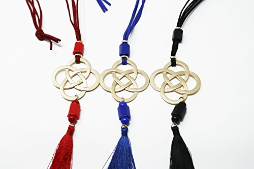 The-Navy-Knot-Adjustable-Corded-Tassel-Necklace-34-Silk-Cord-Trendy-Design-Bold-Quaterfoil-Pendant