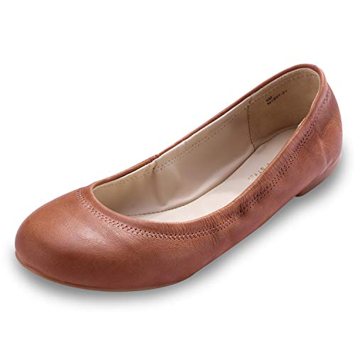 Xielong Women's Chaste Ballet Flat Lambskin Loafers Casual Ladies Shoes Leather Brown 7.5