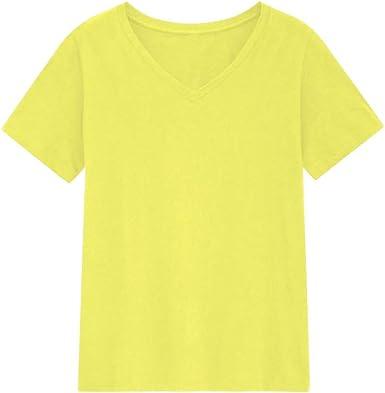 Camiseta Mujer básica Lisa con Cuello Pico Algodón: Amazon.es: Ropa y accesorios