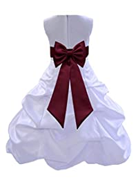 ekidsbridal White Satin Pick-Up Flower Girl Dress First Communion Dresses 808T