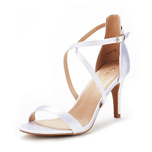 - DREAM PAIRS Women's Dolce White Satin Fashion Stilettos Open Toe Pump Heel Sandals Size 5.5 B(M) US