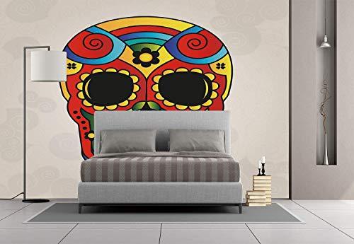 Funky Wall Mural Sticker [ Sugar Skull Decor,Vibrant Colored Figure Macabre Mexico Latin Tradition Mythical Religious Decorative,Multicolor ] Self-adhesive Vinyl Wallpaper / Removable Modern Decoratin ()