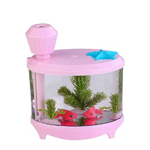 Peniya Home Aquarium Humidifier Portable 460ML Ultrasonic Humidifier with USB Charge,LED Night Light (pink) (Fish Tank Cleaner 3 Gallon compare prices)