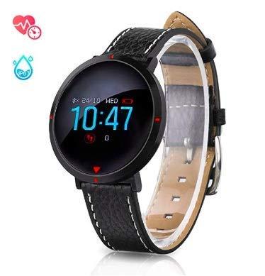 MUXI Slim Touch HR - Monitor de Actividad con Monitor de frecuencia cardíaca, Resistente al Agua, Bluetooth, podómetro con recordatorio de ...