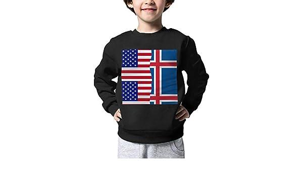 NJKM5MJ Boys Girls Half USA Half Iceland Flag Lovely Sweaters Soft Warm Unisex Children Kids Sweater