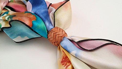 Custom Braided Kangaroo Leather Scarf or Wild Rag Slide Color Natural Braided Slide