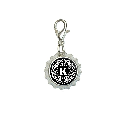 - Letter K Initial Black and White Scrolls Bracelet Pendant Zipper Pull Bottlecap Charm with Lobster Clasp