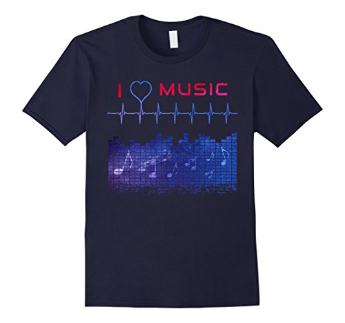 Mens Music Equalizer Galaxy Space Heart Beat DJ gift T-Shirt Large Navy