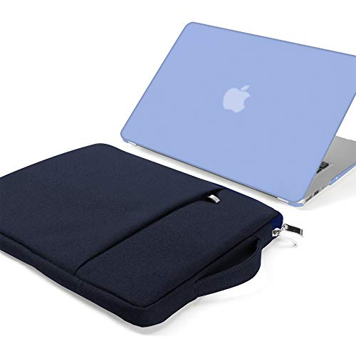 GMYLE MacBook Air 13 Inch Case Cover A1466 A1369 Old Version 2010 2017, 13 13.3 Inch Carrying Sleeve Bag with Handle 2 in 1 Set (Serenity Blue & Navy) (Ipad Air 2 Comparison Ipad Air 1)