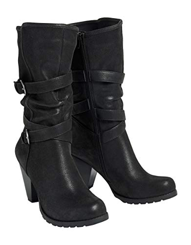 maurices 3 Inch Scrunch Boots - Women's Pam Buckle Black/Brown from maurices