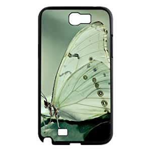 Samsung Galaxy Note 2 Cases, Men Beautiful White Butterfly1 Cases for Samsung Galaxy Note 2 {Black}