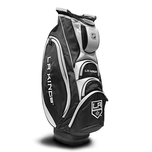 Team Golf NHL Los Angeles Kings Victory Golf Cart Bag, 10-way Top with Integrated Dual Handle & External Putter Well, Cooler Pocket, Padded Strap, Umbrella Holder & Removable Rain Hood