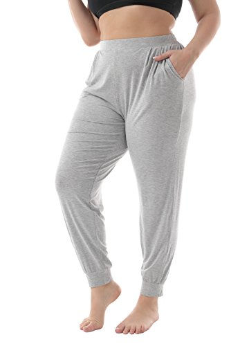 Lounge Gray Pants - ZERDOCEAN Women's Plus Size Casual Stretchy Relaxed Lounge Pants Light Gray 3X